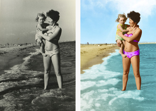 Colorize black and white photos and add color to old faded photos. sample image #0