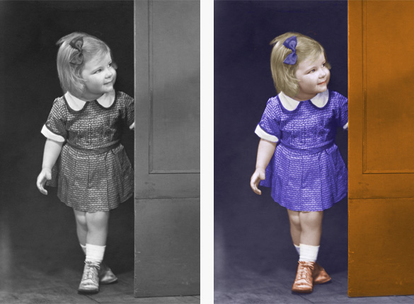 Colorize black and white photos and add color to old faded photos. sample image #1